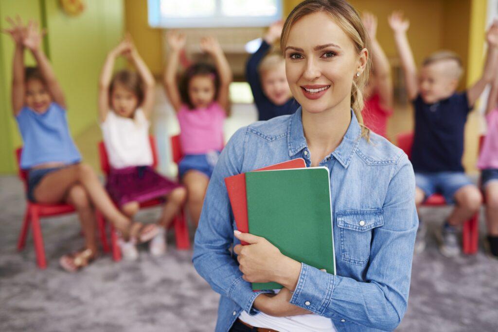 preschool teacher during class time
