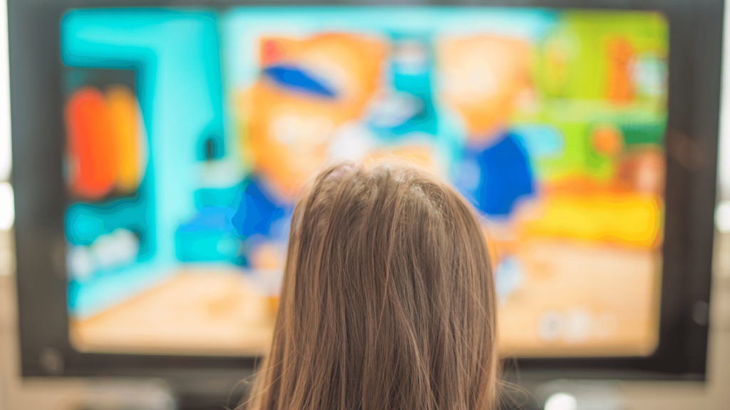 child watching tv during screen time