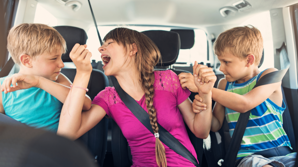 brothers and sisters arguing with each other in the car on the way to school