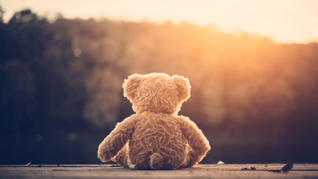 lost teddy bear left alone by a child